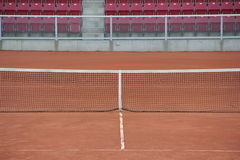 Tennis Court. With clay without any people Stock Photos