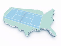 Tennis court on 3d united states Stock Photo
