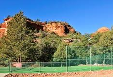Tennis court in desert Stock Photo