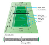 Tennis court with dimensions. Tennis court with all dimensions include net high Stock Photography