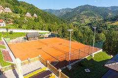 Tennis court in Drvengrad, Serbia Royalty Free Stock Photo
