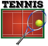 Tennis court and equipment Royalty Free Stock Images
