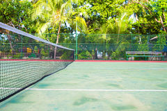 Tennis court on exotic tropical island - sport Stock Image