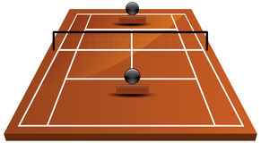 Tennis court field in clay. Illustration of tennis court field in clay Royalty Free Stock Images