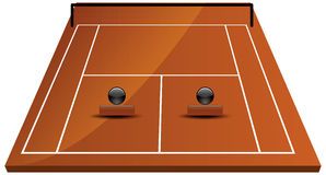 Tennis court field in clay. Illustration of tennis court field in clay Royalty Free Stock Image