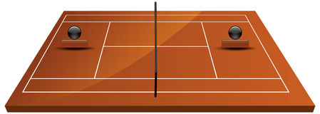 Tennis court field in clay. Illustration of tennis court field in clay Royalty Free Stock Photography