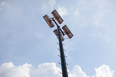 Tennis court floodlights Royalty Free Stock Images