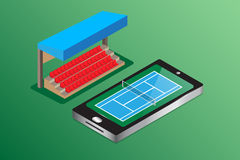 Tennis court green background isometric view watching live conce Stock Photos