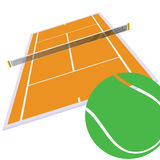 Tennis court and green ball illustration Stock Photo