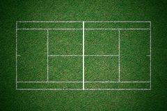 Tennis court, green grass with white line from top view. Stock Images