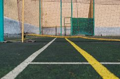 Tennis court, grid and ball. stock images