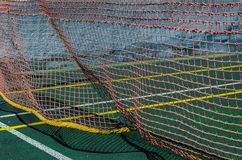 Tennis court, grid and ball. royalty free stock photos
