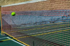 Tennis court, grid and ball. royalty free stock photography