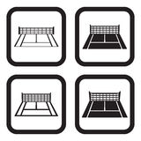 Tennis court icon four variations Stock Photography