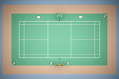 Tennis court with inventory 3d rendering. Tennis court top view with inventory. 3d rendering Royalty Free Stock Image