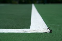 Tennis Court Line. The line of a tennis court. Horizontally framed shot Royalty Free Stock Image