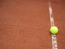 Tennis court line with ball (32). Outside in the tennis court, the line with ball Stock Photography