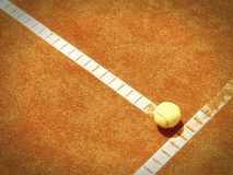 Tennis court line with ball (138) Royalty Free Stock Photo