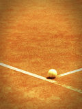 Tennis court (171). Tennis court line with ball, pinhole look with vignette Royalty Free Stock Photos