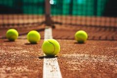 Tennis court line with balls Stock Photos