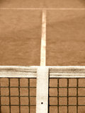 Tennis court. With line and net  old look Stock Image