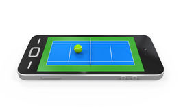 Tennis Court in Mobile Phone Stock Image