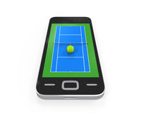 Tennis Court in Mobile Phone Royalty Free Stock Photos