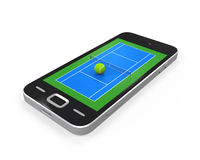 Tennis Court in Mobile Phone Royalty Free Stock Photography