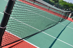 Tennis Court and Net. On a Sunny Day Stock Photo