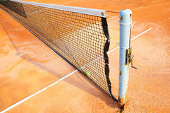 Tennis court with net Stock Photo
