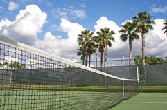 Tennis court net and palm trees Stock Photo