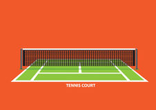 Tennis Court with Net and Posts Vector Illustration Stock Photo