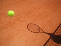 Tennis court net and racket shadow with ball (30) Royalty Free Stock Image