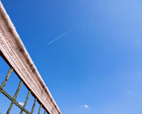 Tennis court net and sky (133) stock image
