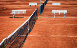Tennis court. New tennis court and benches Stock Photo