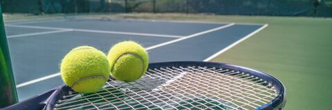 Free Tennis Court Panorama Background With Blue Racket And Two Tennis Balls Ready To Play Match On Outdoor Courts Summer Royalty Free Stock Photo - 193895665