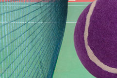 Tennis court with purple ball Royalty Free Stock Photos