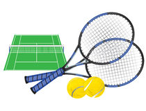 Tennis court and rackets Royalty Free Stock Image