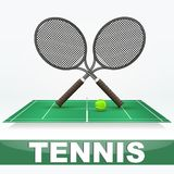 Tennis court and rackets Royalty Free Stock Photo