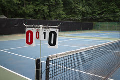 Tennis court score board. Score number hanging in the outdoor tennis court Royalty Free Stock Photos