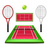 Tennis court set isolated on white vector Stock Images