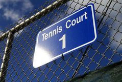 Tennis court sign Stock Photos