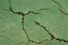 Tennis court surface cracks Stock Image