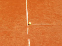 Tennis court t-line with ball (22) Stock Photo