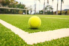 Tennis court with tennis ball Royalty Free Stock Photos