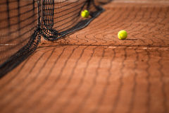 Tennis court with tennis balls Royalty Free Stock Photography