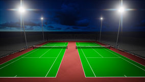 Tennis courts. Graphic display 3D structures within architectural lighting greatness of the field Stock Photo