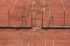 Tennis courts - view from above. Clay tennis courts viewed from above Royalty Free Stock Image