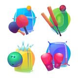 Tennis and cricket, bowling and boxing equipment icons or logo. Royalty Free Stock Photography