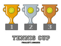 Tennis Cup Finalists Awards in Gold, Silver and Bronze. Vector Symbols Stock Images